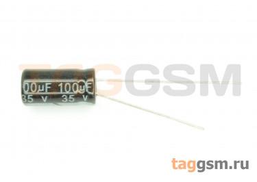 Конденсатор электролитический 100мкФ 35В 20% 105°C (6х12мм)
