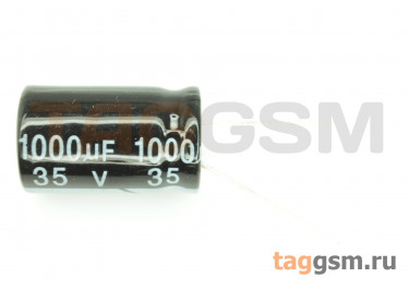 Конденсатор электролитический 1000мкФ 35В 20% 105°C (13х21мм)