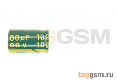 Конденсатор электролитический 100мкФ 100В 20% 105°C (10х17мм)