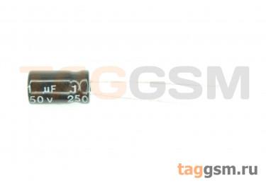 Конденсатор электролитический 1мкФ 250В 20% 105°C (6х12мм)