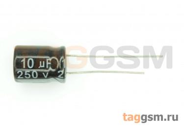 Конденсатор электролитический 10мкФ 250В 20% 105°C (10х13мм)
