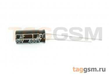 Конденсатор электролитический 1мкФ 400В 20% 105°C (6х12мм)