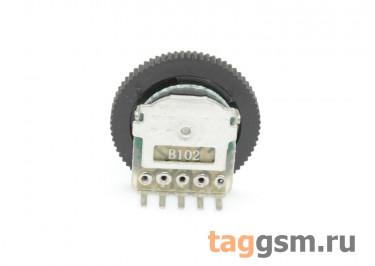 R1001G-B102-16 / 2 Резистор переменный сдвоенный с ручкой 16мм 1 кОм 20% тип-B