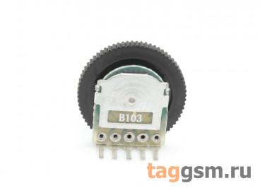 R1001G-B103-16 / 2 Резистор переменный сдвоенный с ручкой 16мм 10 кОм 20% тип-B