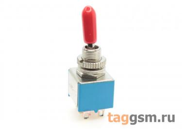 KNX-2-D1 Тумблер на панель с красной ручкой ON-ON DPDT 250В 3А (6мм)