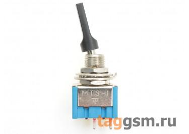 MTS-101-E1 Тумблер на панель с чёрной плоской ручкой ON-OFF SPST 250В 3А (6мм)