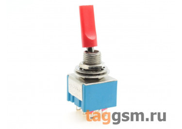 MTS-202-E1 Тумблер на панель с красной плоской ручкой ON-ON DPDT 250В 3А (6мм)