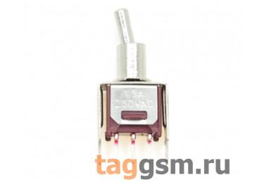 SMTS-102-2C2T Тумблер миниатюрный на плату вертикальный ON-ON SPDT 250В 1,5А (4,8мм)