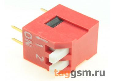 DS1040-02RT (Красный) DIP переключатель 2 поз. угловой 24В 0,1А