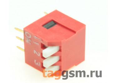 DS1040-03RT (Красный) DIP переключатель 3 поз. угловой 24В 0,1А