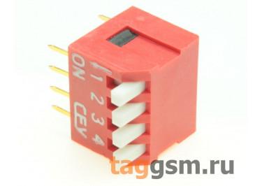 DS1040-04RT (Красный) DIP переключатель 4 поз. угловой 24В 0,1А