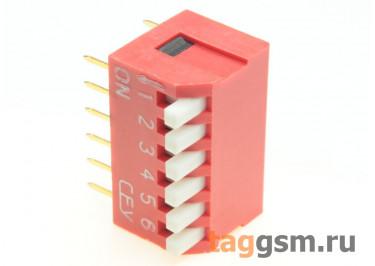 DS1040-06RT (Красный) DIP переключатель 6 поз. угловой 24В 0,1А