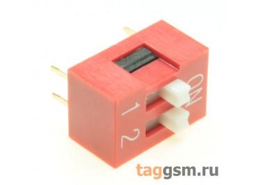 KF1001-02P-R0-FS (Красный) DIP переключатель 2 поз. 24В 0,025А