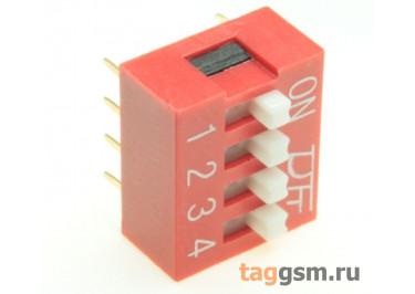 KF1001-04P-R0-GS (Красный) DIP переключатель 4 поз. 24В 0,025А