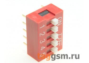KF1001-05P-R0-GS (Красный) DIP переключатель 5 поз. 24В 0,025А
