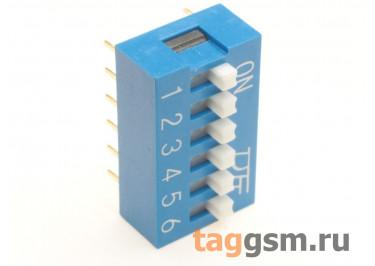 KF1001-06P-B0-GS (Синий) DIP переключатель 6 поз. 24В 0,025А