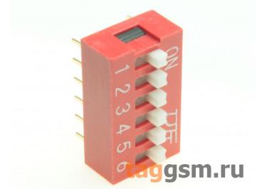KF1001-06P-R0-GS (Красный) DIP переключатель 6 поз. 24В 0,025А