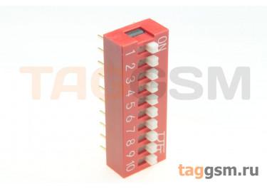 KF1001-10P-R0-GS (Красный) DIP переключатель 10 поз. 24В 0,025А