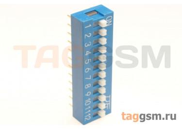 KF1001-12P-B0-GS (Синий) DIP переключатель 12 поз. 24В 0,025А