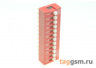KF1001-12P-R0-GS (Красный) DIP переключатель 12 поз. 24В 0,025А