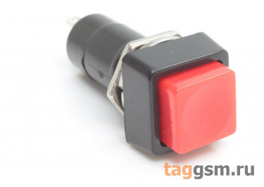 PBS-12A / R Кнопка на панель квадратная красная с фиксацией ON-OFF SPST 250В 1А (12мм)