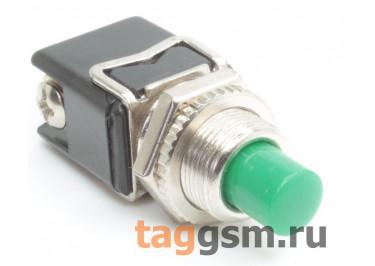 PBS-13B / G Кнопка на панель круглая зелёная без фиксации OFF-(ON) SPST 250В 4А (12мм)