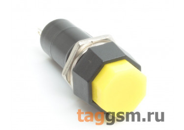 PBS-14A / Y Кнопка на панель восемь граней жёлтая с фиксацией ON-OFF SPST 250В 1А (12мм)