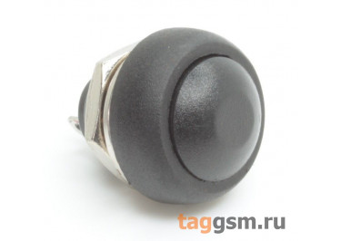 PBS-33B / B Кнопка на панель круглая черныя без фиксации OFF-(ON) SPST 250В 1А (12мм)