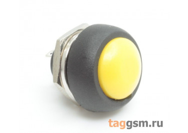 PBS-33B / Y Кнопка на панель круглая жёлтая без фиксации OFF-(ON) SPST 250В 1А (12мм)