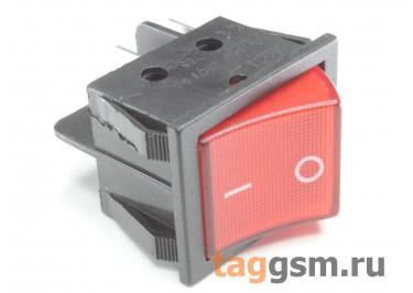 KCD-1258 4P Переключатель на панель красный ON-OFF DPST 250В 16А (28,2х21,5мм)