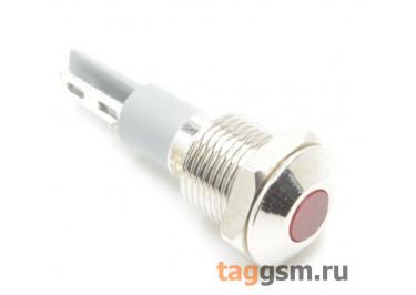 Светодиодный индикатор на панель D=10мм 12-24В металл (Красный)