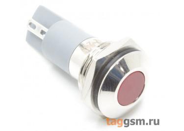 Светодиодный индикатор на панель D=14мм 12-24В металл (Красный)