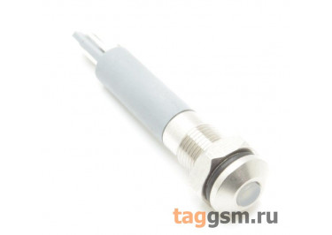 Светодиодный индикатор на панель D=6мм 12-24В металл (Белый)