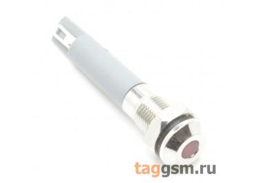 Светодиодный индикатор на панель D=6мм 12-24В металл (Красный)