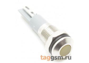 Светодиодный индикатор на панель D=8мм 12-24В металл (Жёлтый)