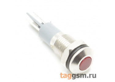 Светодиодный индикатор на панель D=8мм 12-24В металл (Красный)