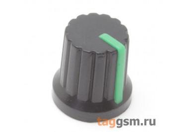 KA485-4 / G Ручка пластиковая 15x15мм под ось 6мм 18T (Зеленый)