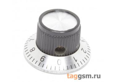 KN-138A Ручка пластиковая со шкалой 23,8x14мм под ось 6мм + винт (Черный)