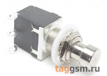 PBS-24-112 Кнопка на панель металлическая без фиксации ON-(ON) SPDT 250В 2А (12мм)