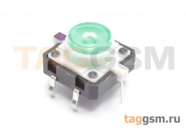 TSL-012 / G Кнопка тактовая зеленая с подсветкой 2-3В 12х12мм h=7,2мм 6 конт. SPST-NO (7мм)