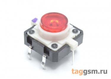 TSL-012 / R Кнопка тактовая красная с подсветкой 2-3В 12х12мм h=7,2мм 6 конт. SPST-NO (7мм)