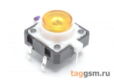 TSL-012 / Y Кнопка тактовая желтая с подсветкой 2-3В 12х12мм h=7,2мм 6 конт. SPST-NO (7мм)