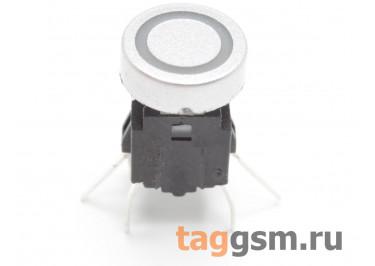 TSL-A061-DL2 / BL Кнопка тактовая серебристая с подсветкой 2-3В синяя 6х6мм h=9мм 6 конт. SPST-NO (7,5мм)