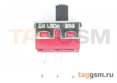 SS8-6 Переключатель движковый на плату угловой ON-ON DPDT 250В 2А