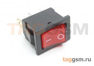 KCD1-2-101N-C3-R / B-220V Переключатель на панель с пдсветкой 220В красный ON-OFF SPST 250В 6А (19x12мм)