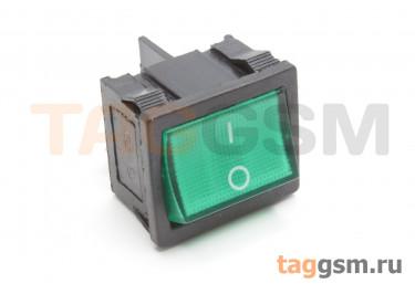 KCD1-6-201N-C3-G / B-220V Переключатель на панель с пдсветкой 220В зеленый ON-OFF DPST 250В 6А (18,7x21,9мм)