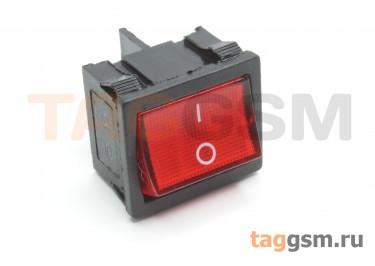 KCD1-6-201N-C3-R / B-220V Переключатель на панель с пдсветкой 220В красный ON-OFF DPST 250В 6А (18,7x21,9мм)