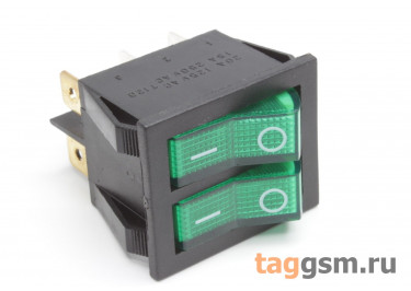 IRS-2101-1B3-G / R Переключатель на панель двойной зелёный c подсветкой ON-OFF DPST 250В 15А (25,4х21,8мм)