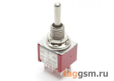 MTS-212R Тумблер на панель без фиксации (ON)-OFF-(ON) DPDT 250В 3А (6мм)