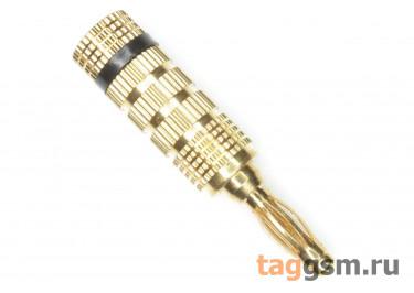 CX-3018 Штекер на кабель золотой / черный 4мм 30В 24А